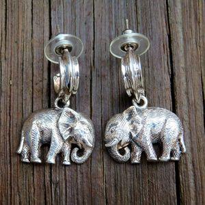 Vintage 925 Sterling Elephant Dangle Earrings